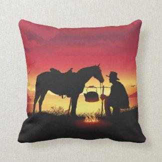 Cowboy and Horse at Sunset Throw Pillow