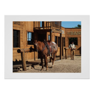 Cowboy and horse in the wild west, USA Poster