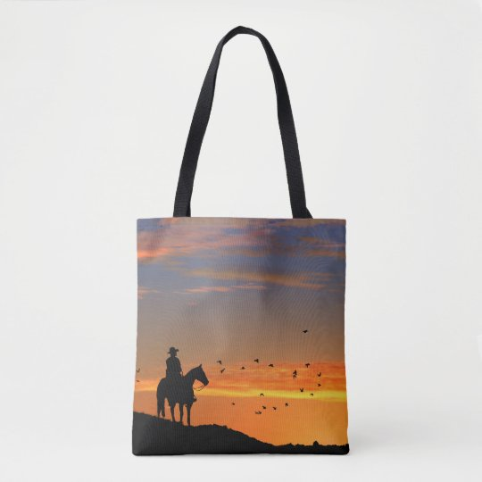 Cowboy and Sunset Tote Bag