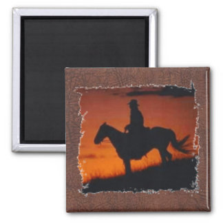 Cowboy at Sunset  by Amanda Square Magnet