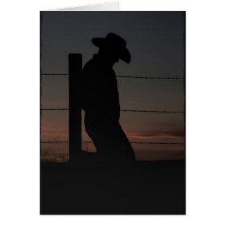 Cowboy at sunset card