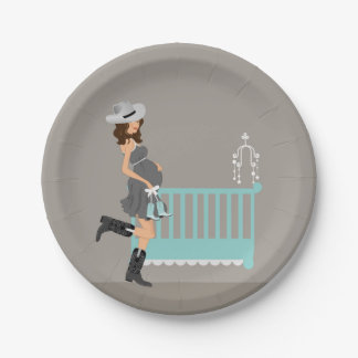 Cowboy Baby Shower - Brunette Paper Plate