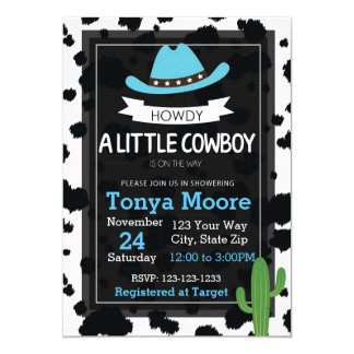 Cowboy Baby Shower Invitation (blue)