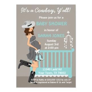 Cowboy Baby Shower Invitation - Brunette Western