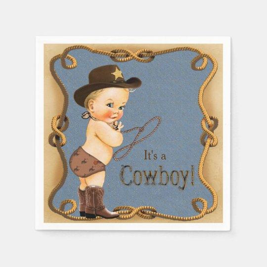 Cowboy Baby Shower Paper Napkin
