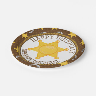 Cowboy Badge and Horseshoe Birthday Paper Plate