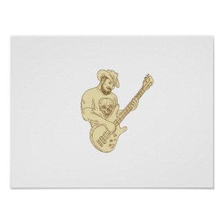 Cowboy Bass Guitar Isolated Drawing Poster