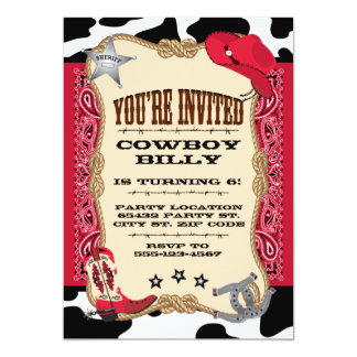 Cowboy Birthday, 5x7 Invitation