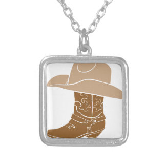 Cowboy Boot And Hat Silver Plated Necklace
