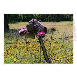 Cowboy Boot On Rustic Cedar Fence Card