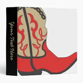 Cowboy Boot Red Vinyl Binder