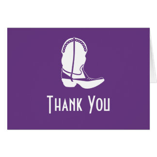 Cowboy Boot Thank You Note Cards (Dark Purple)