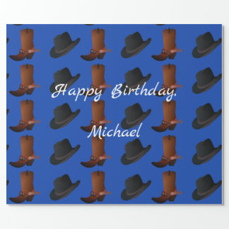 Cowboy Boots and Hat Birthday Wrapping Paper