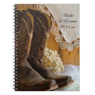 Cowboy Boots and Lace Country Wedding Notebook
