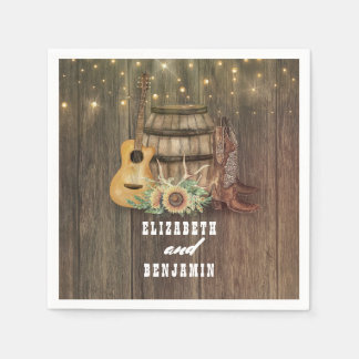 Cowboy Boots and Sunflowers Wine Barrel Napkin
