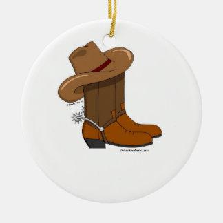 Cowboy Boots Ceramic Ornament