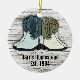 Cowboy Boots Country Homestead Established Ceramic Ornament
