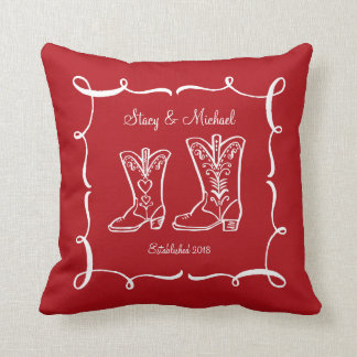 Cowboy Boots Couple's Throw Pillow