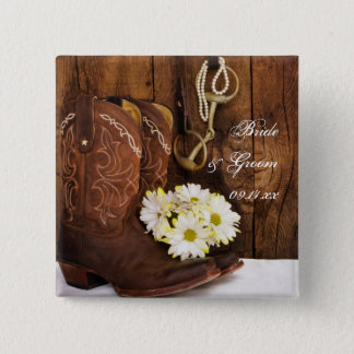 Cowboy Boots, Daisies Horse Bit Country Wedding 2 Inch Square Button