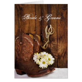 Cowboy Boots, Daisies Horse Bit Wedding Invite