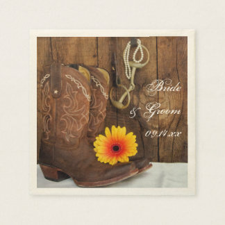 Cowboy Boots, Daisy and Horse Bit Country Wedding Disposable Napkins