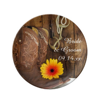 Cowboy Boots, Daisy and Horse Bit Country Wedding Porcelain Plates