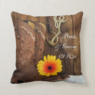 Cowboy Boots, Daisy and Horse Bit Country Wedding Throw Pillow
