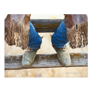 Cowboy boots on fence postcard