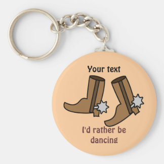 Cowboy Boots Rather be Dancing Country Western Basic Round Button Keychain