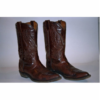 Cowboy boots standing photo sculpture