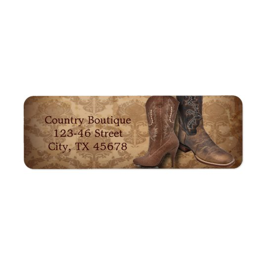 cowboy boots western country fashion business return address label