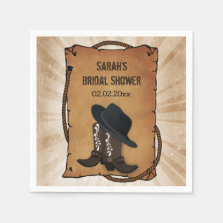 cowboy boots western personalized wedding napkins disposable napkin