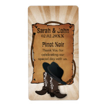 cowboy boots western theme Personalized Wine label