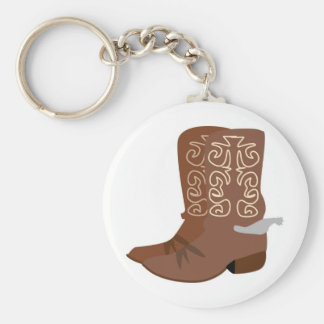 Cowboy Boots with Spurs Basic Round Button Keychain