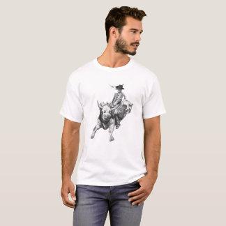 Cowboy, Bull Rider, Riding Bull, Rodeo, Pencil Art T-Shirt