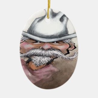 Cowboy Ceramic Oval Ornament