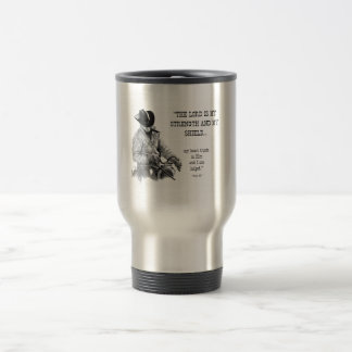 COWBOY, CHRISTIAN: TRAVEL MUG: BIBLE VERSE TRAVEL MUG