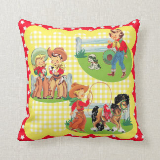 Cowboy Cowgirl Kids Western Baby Gift Throw Pillow
