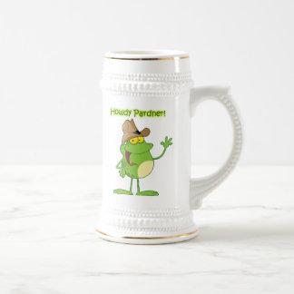 Cowboy Frog Waving Howdy Beer Stein