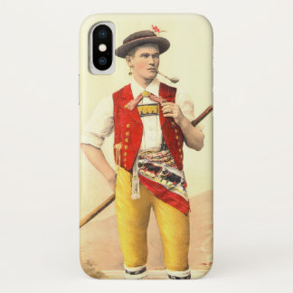 Cowboy from Appenzell in Traditional Swiss Costume iPhone X Case