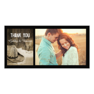 Cowboy Hat and Barn Wood Country Wedding Thank You Photo Greeting Card