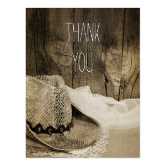 Cowboy Hat and Barn Wood Country Wedding Thank You Postcard