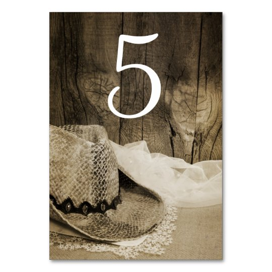 Cowboy Hat and Barn Wood Wedding Table Numbers