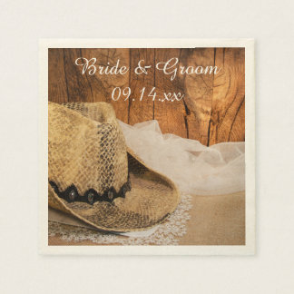 Cowboy Hat and Barn Wood Western Wedding Disposable Napkin