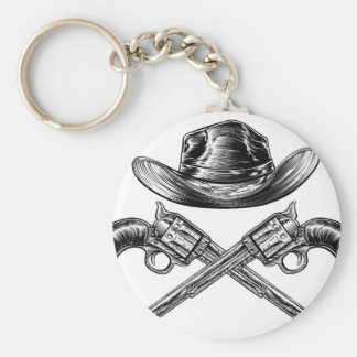 Cowboy Hat and Crossed Guns Keychain