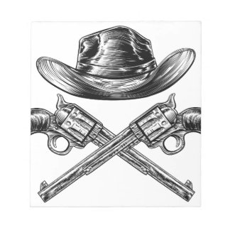 Cowboy Hat and Crossed Guns Notepad