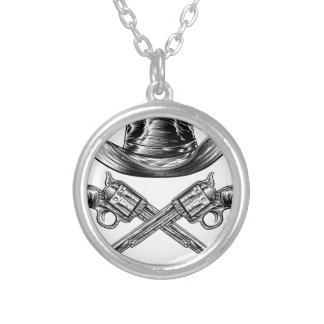 Cowboy Hat and Crossed Guns Silver Plated Necklace