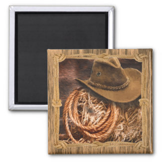 Cowboy hat and lariat on straw bale square magnet