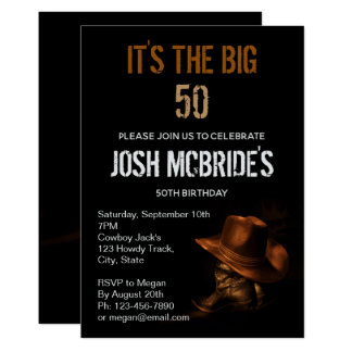 Cowboy Hat and Leather Boots Masculine Personalize Card