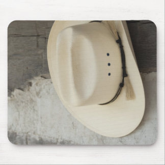 Cowboy hat hanging on wall of log cabin mouse pad